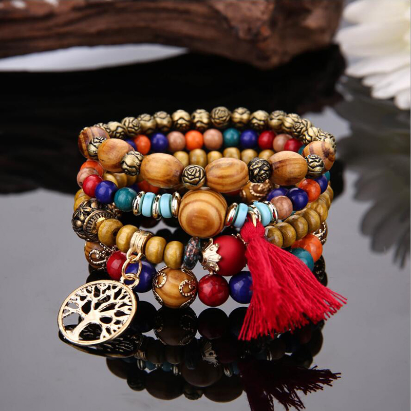 Charm-Bracelets Bangles Wristband Boho Jewelry Wooden Beads Multilayer Women for