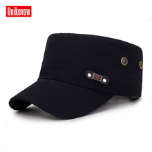 UNIKEVOW Solid military cap FS logo Flat top Hat for men and women Outdoor high quality sport breathable hat