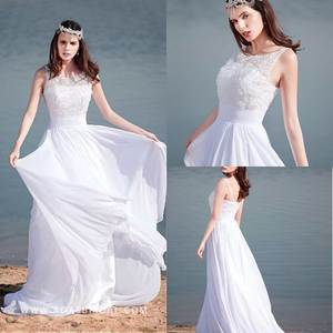 Elegant Chiffon Scoop Neckline A-line Wedding Dresses Flower Top Backless Beach Bridal Gowns Ruched Long Dress