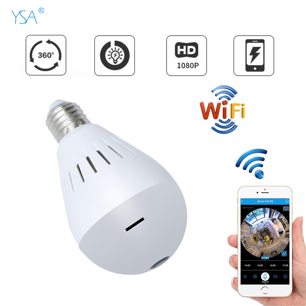 YSA 2MP 960P Bulb Light Wireless IP Camera Panoramic Wi-Fi Lamp FishEye WIFI Camera 360 Degree Mini CCTV Home Security VR Camara hd smart cctv ip camera wifi 960p panoramic wireless fisheye vr camara p2p wi fi home security cameras cheap 1 3mp 360 degree