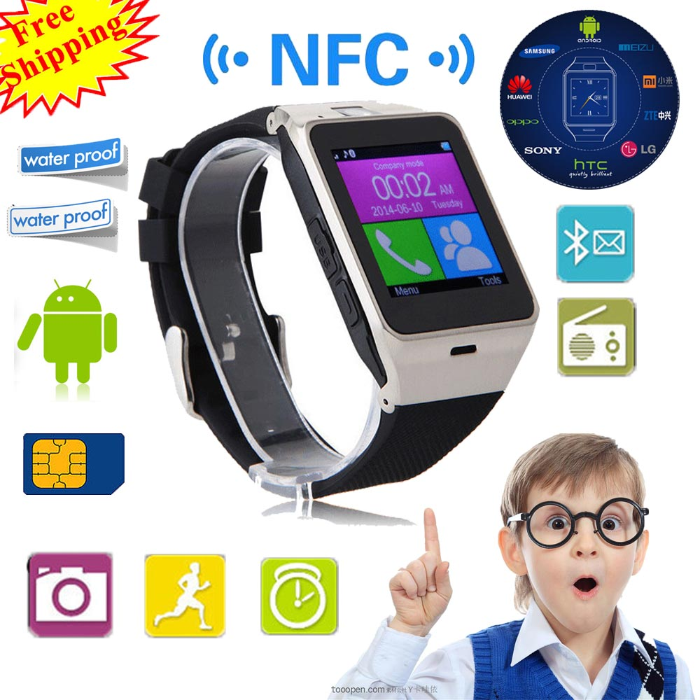 Bluetooth Smart watch GV18 smartwatch with NFC Camera SIM TF card GSM Phone Sync Call Reminder for Android IOS PK Q18 U8 watches