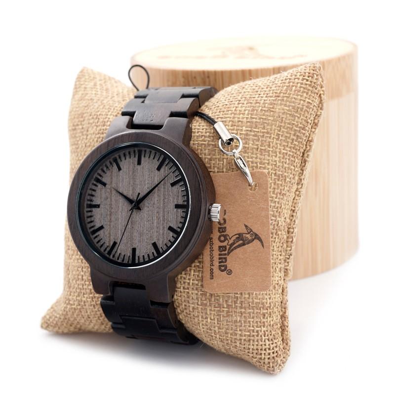 Prix pour BOBO BIRD Hommes de Noir Ébène En Bois Montre avec Tous Les Bois Bracelet À Quartz Analogique De Luxe Gris Cadran Diamètre 45mm