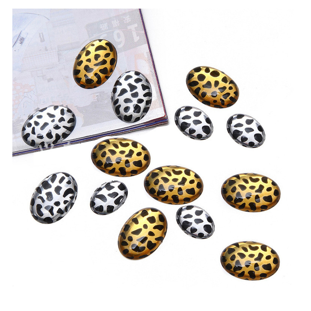 13*18/18*25mm Nail Rhinestones Oval Leopard Gold Silver Diamond Egg-shaped Flatback Design for Beauty Manicure Phone Accessories