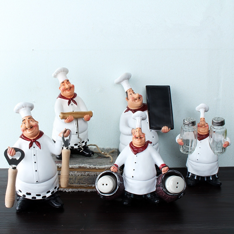 Retro Resin Chef Figurine American Rural Style White Kitchen Cook Kitchen Dining Room Cabochon Home Desktop Decor Crafts