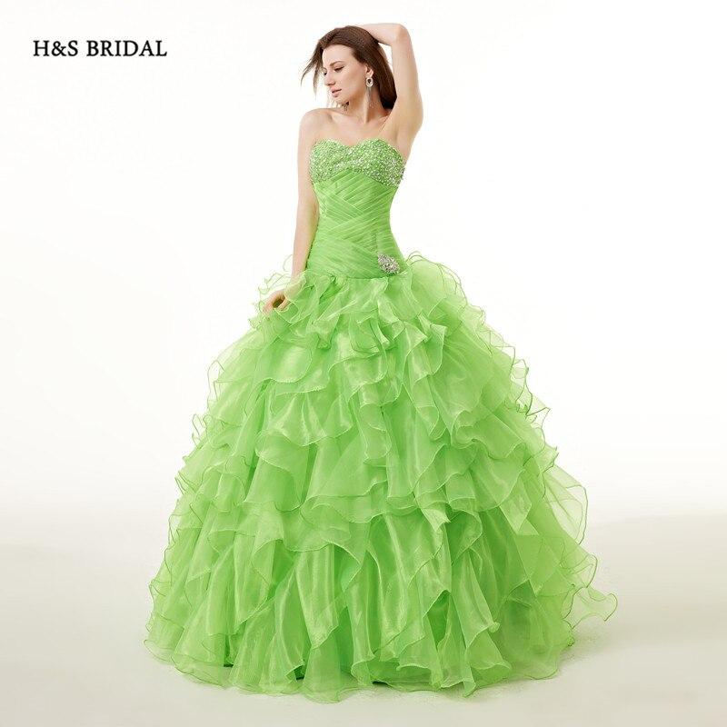 H \u0026 S mariée vert Organza robe de bal