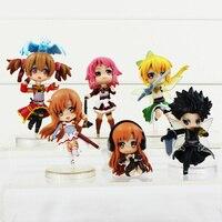 6Pcs Set Sword Art Online Figures Fairy Dance Kirito Asuna Lefa Kirigaya Kazuto Yuuki PVC Action