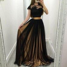 Black Evening Gown Women Summer Party Dresses 2016 Robe De Soiree Short Sleeve With Applique Long Prom Dress Vestido Longo