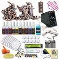 Kits de Tatuagem completo 2 Alívio Máquina de Tatuagem Armas 10 Cores Tintas Set Top Kit de Alimentação
