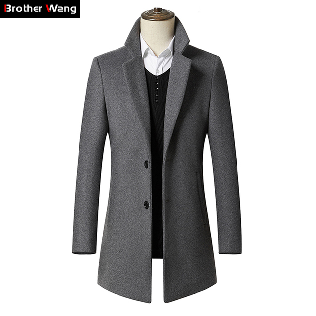 39b46557c7b 2019 New Autumn Winter Men s Long Section Wool Coat Business Casual Classic Style  Slim Fit Woolen Jaket Male Brand Clothes