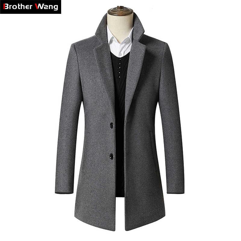 2019 neue Herbst Winter männer Lange Abschnitt Wolle Mantel Business Casual Klassische Stil Slim Fit Woll Jaket Männlichen Marke kleidung