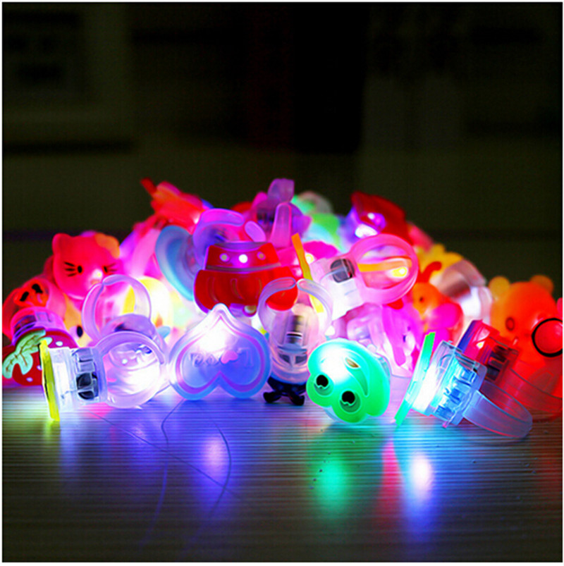 10pcs/lot Kids Cartoon LED Flashing Light Up Glowing Finger Rings Electronic Christmas Halloween Fun Toys Gifts For Children