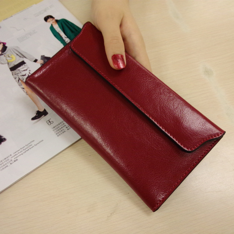 Genuine Real Leather New Envelope Fashion Women Lady Long Wallet Organizer Clutch Handy Bag Purse Cell Mobile IPhoneThin Hot  new arrive 1pc women lady faux leather clutch envelope wallet long card holder purse hollow hot