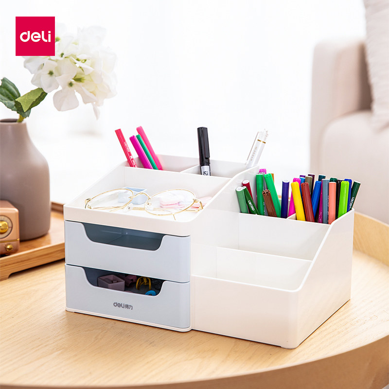 Desktop Multifunction Pen Holder Cosmetic Storage Box Desk Pen Pencil Organizer Container Box Office School Supplies 8900