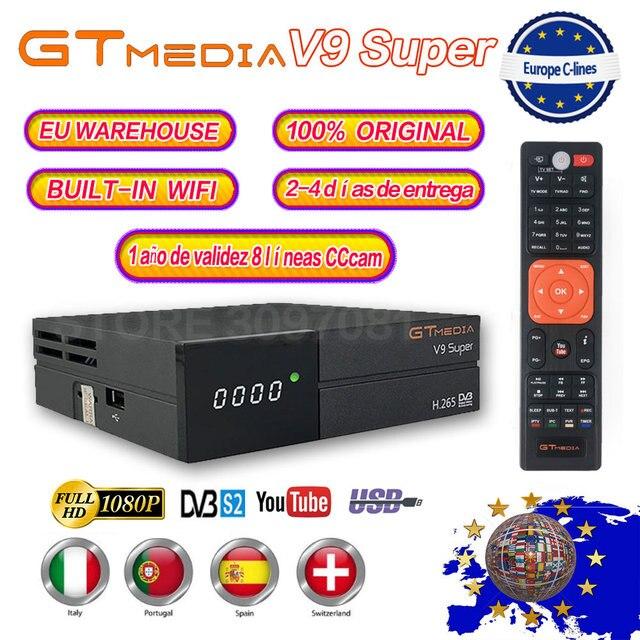 Hot GTmedia V9 Super Satellite Receiver Freesat V9 Super DVB-S2 Updated GTmedia V8 Nova with CCcam Cline for 1 Year Spain