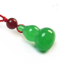 High Quality Green Malay Jade Pendant Necklace Calabash Cucurbit Gourd Pendant Necklace Fashion Men Women Lover's Jade Jewelry