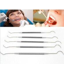 1 PC professional Stainless Steel Dental Tool Dentist Teeth Clean Hygiene Explorer Probe hook Pick Teeth care FM1036