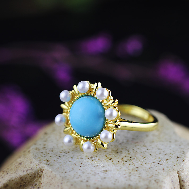 LouLeur 925 sterling silver turquoise rings mosaic pearl natural stone turquoise pearl around wedding rings fine jewelry gift тюбинг snowshow элит 120cm turquoise silver