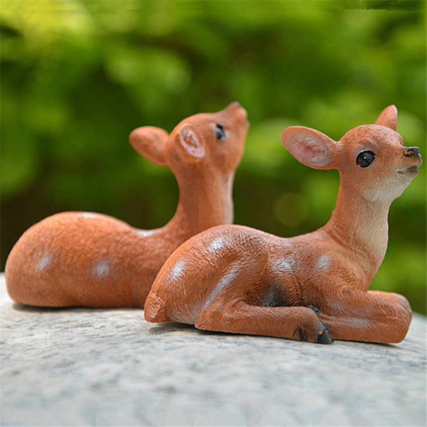 1Pc Mini Garden Figurines Simulated Deer Sheep Animals Figurines Garden Decoration Outdoor Statue Resin Yard Landscape Ornaments