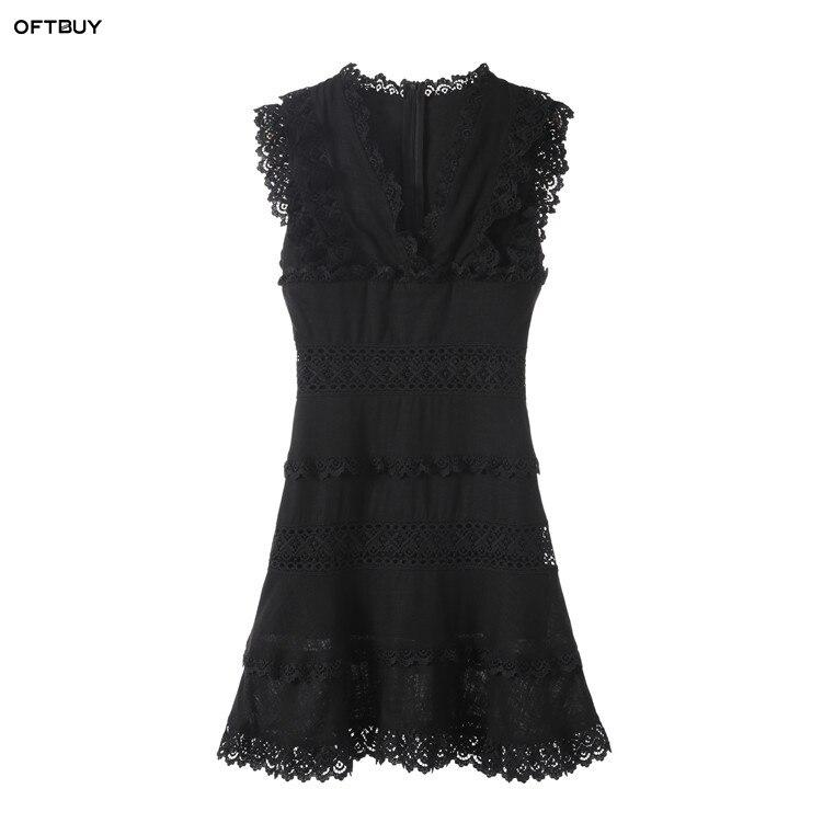 7939420395a7 OFTBUY 2019 vintage spring summer office dress elegant hollow out sleeveless  black slim mini lace dress