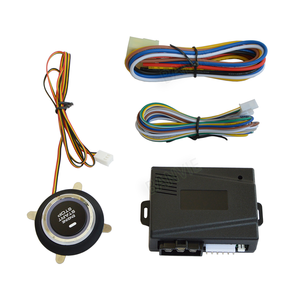 Car One Start Stop Engine System Lock Ignition Button Keyless Entry Way Alarm With Remote Function View Push Starter Switch Working