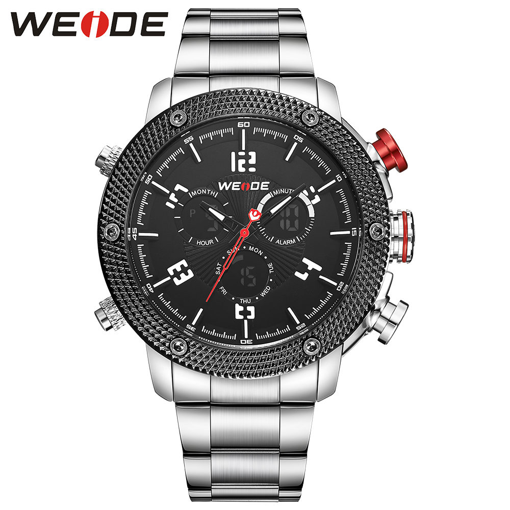 все цены на  2017 Watches Men Luxury Brand Weide Full Steel Quartz Men Clock Led Digital Military Watch Sports Wristwatches Relogio Masculino  в интернете