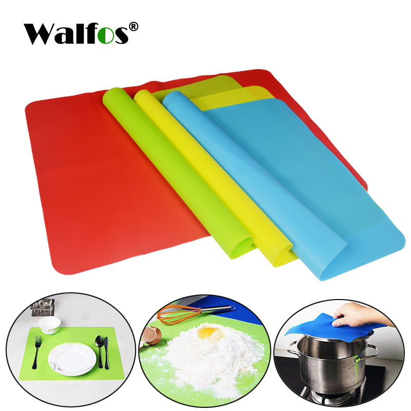 WALFOS 1 piece food grade baking mat Heat Resistance Table Placemat Pad Silicone Oven Mat Heat Insulation Pad Bakeware Table Mat