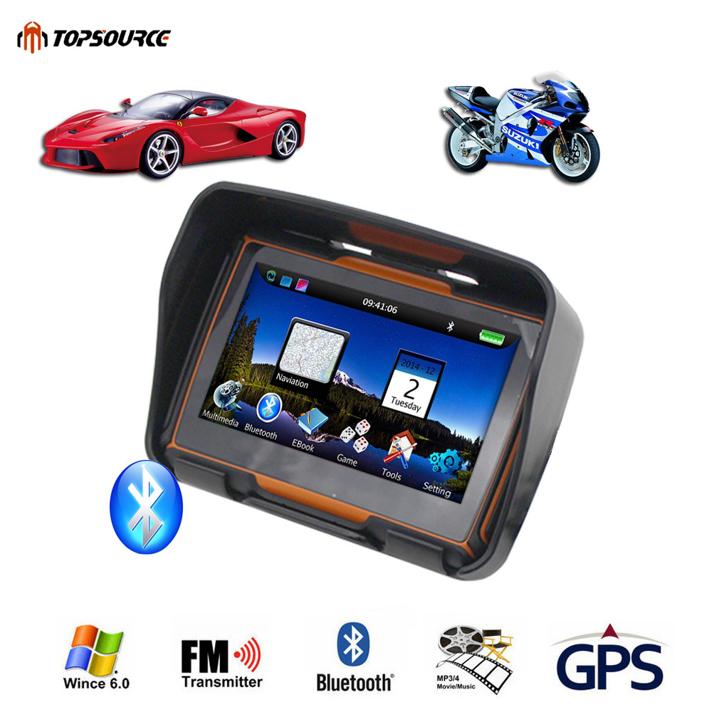 TOPSOURCE 256M RAM 8GB Flash 4.3 Inch Car Motor Navigator GPS Motorcycle Waterproof gps Navigation with FM Bluetooth Free Maps