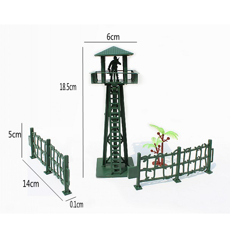 Fence Palm 4pcs/set Childrens Toys Free Shipping Supply Sand Table Model Military Model Static Bulk Components Large Watchtower