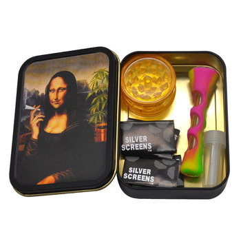 Smoking Set 1x Metal Tobacco Box+1x Silicone Tobacco Pipe+1x Plastic Herb Grinder+5 Booklet Metal Filters+1x Glass Mouth Tips 1