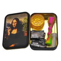 Conjunto de fumador 1 caja de tabaco metálica + 1 pipa de tabaco de silicona + 1 amoladora de hierbas de plástico + 5 Filtros de Metal + 1 boquilla de vidrio