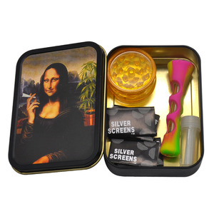 Smoking Set 1x Metal Tobacco Box+1x Silicone Tobacco Pipe+1x Plastic Herb Grinder+5 Booklet Metal Filters+1x Glass Mouth Tips