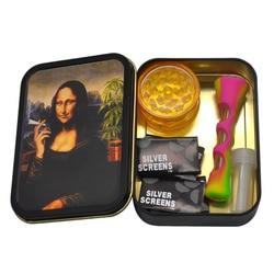 Zestaw do palenia 1x metalowe pudełko tytoniu + 1x silikonowe fajka do tytoniu + 1x z tworzywa sztucznego młynek do ziół + 5 broszura metalowy filtry + 1x szkło ustniki