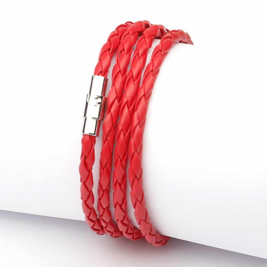 מכירה לוהטת סגנון 2019 האחרון פופולרי 4 מעגל עור צמיד לגברים שרשרת & קישור Bracele בציר 11 צבע לבחור