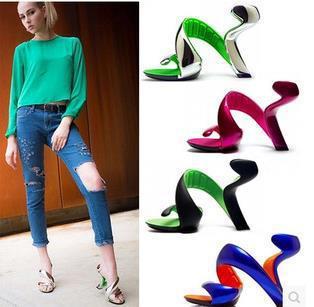 ФОТО New 2015 summer style shoes woman high heel Platform Pumps Fashion Genuine Leather gladiator sandals women Luxury brands 6colors