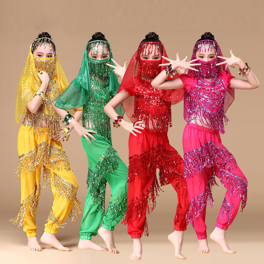 Children Indian Dance 6 piece Costume Set top pants headpiece face veil bracelets New Arrival Girls