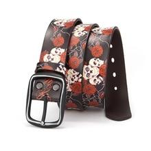 OLOME Vintage Hip Hop Punk Wide Belt White Skull Women Men Floral Print Genuine Leather Rock Waist Belts