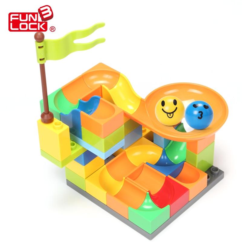 36pcs FUNLOCK Legoe Duplo Building Bricks Blocks Castle House Educational Creative Toys For Children