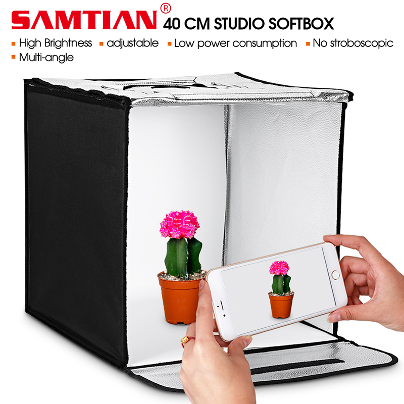 SAMTIAN 40 * 40cm LED Foto Studio Softbox Folding Shooting Light Telt - Kamera og bilde