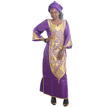 MD african dresses for women bazin dashiki plus size dress print embroidery cotton womens clothing head wraps