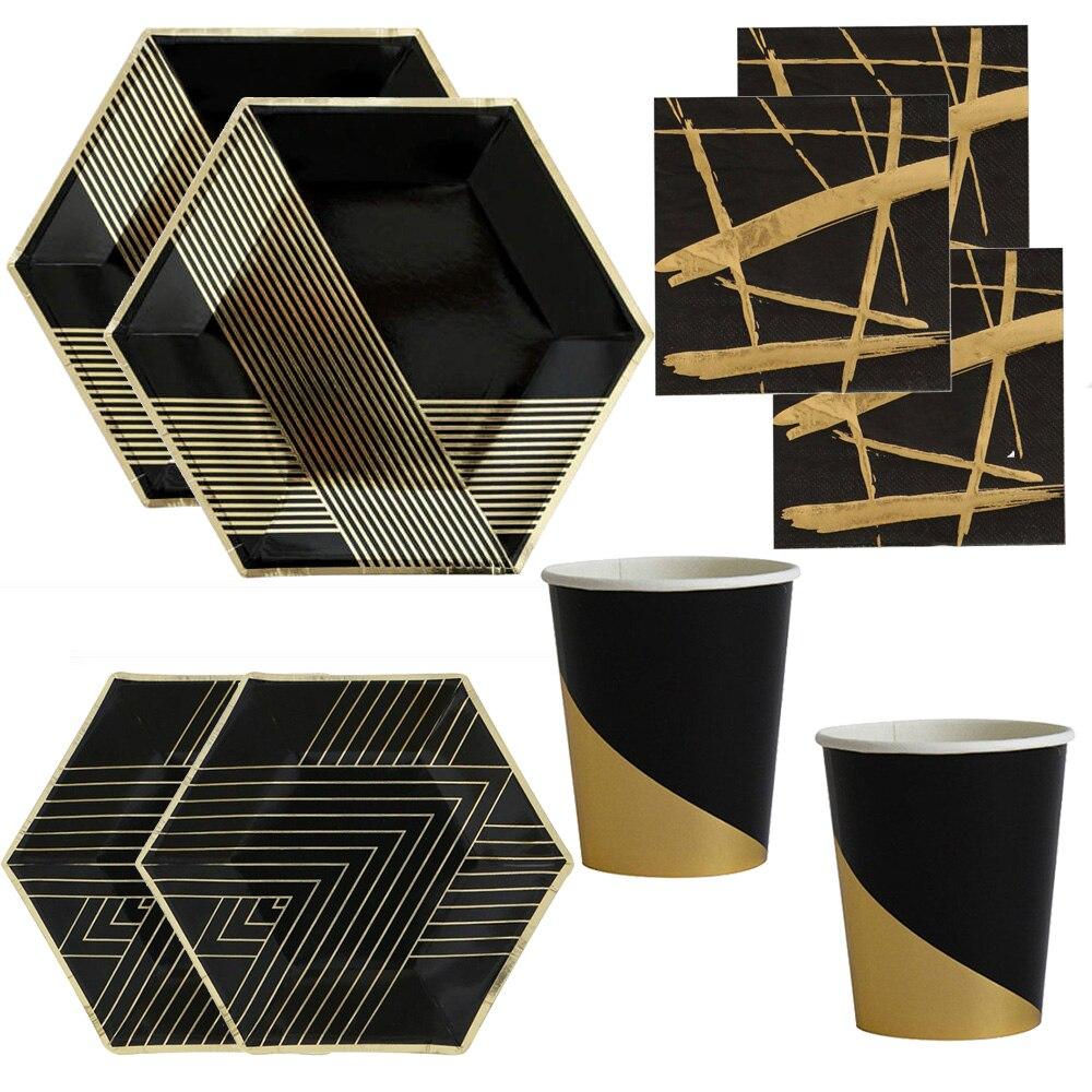 Black And Gold Beverage Napkins: Free Shipping 112 Pcs Black And Gold Foil Napkins Paper
