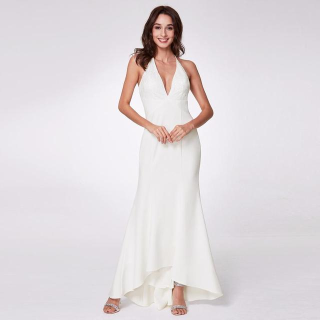 Evening Dresses EP07232 Women s Fashion Simple Backless Spaghetti Strap Long  White Party Dresses with Ruffles 9360f2d28d7e