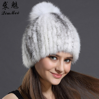 Winter Hat Women Fall Fashion Russian Hat Mink Fur With ball Caps Hairball Hats Warm Ear Protection Wool Adult Solid Hat