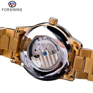 Image 4 - Forsining Automatic Self Wind Male Watch Golden Dial Stainless Steel Casual Moonphase Gold Mechanical Tourbillon Men Clock Reloj