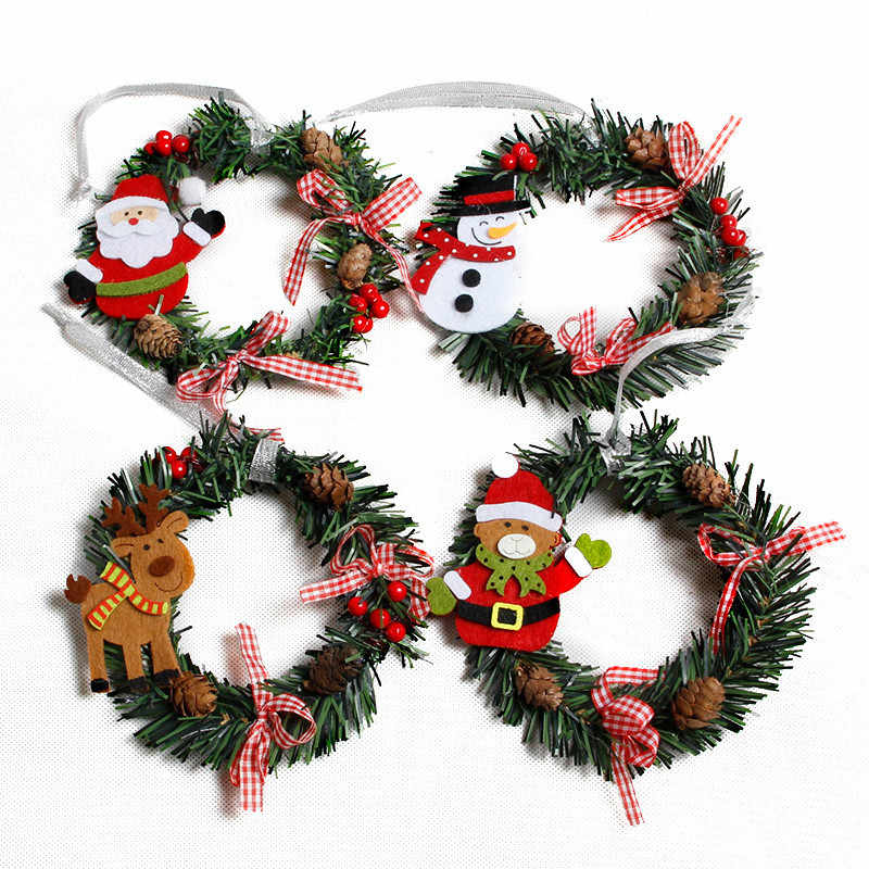 Small Christmas Wreath Cartoon With Pines Merry Christmas Wreaths Mini Xmas New Year Garland Nice Gift Xmas Wreath Dia 15cm