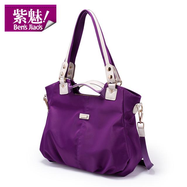 Bens Jiaos new purple ladies ruched shoulder bags waterproof brand bolsos women high quality tote bag fashion designer handbags