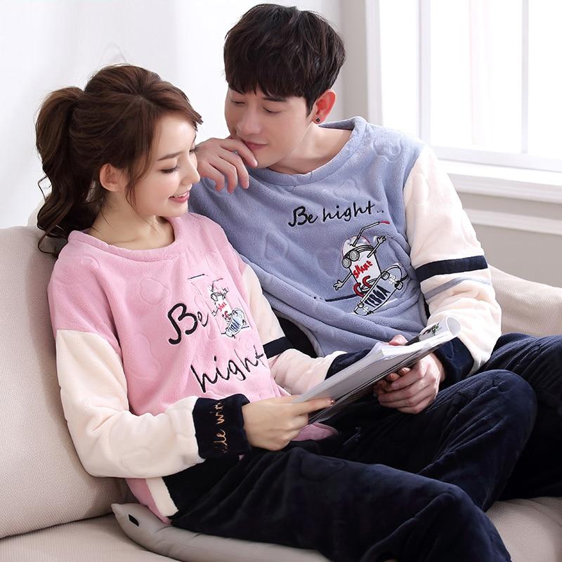 2018 Winter kigurumi Thick Coral Fleece Pajamas Sets Cartoon Bottoms Couples Flannel Warm Sleepwear Thermal Homewear