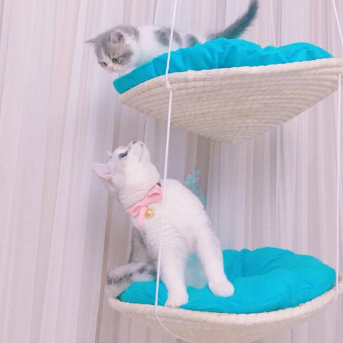 Tissé chat maison lit suspendu hamac fournitures pour animaux de compagnie pour petit Animal-2 couches bleu velours