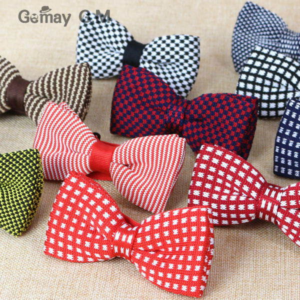 NEW Classic Knitting Bowtie Fashion Neckwear Adjustable Bowtie for Wedding Polyester Bowties for man
