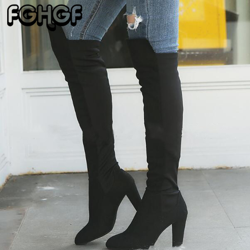 Sexy Over Knee Boots Autumn Winter Women Thigh High Boot Shoes Fashion High Heels Female stretch Long Boots Motorcycle boots Y18 high heels over the knee long boots women sexy boots heels snow long boot winter shoes zip thigh high boots platform shoes