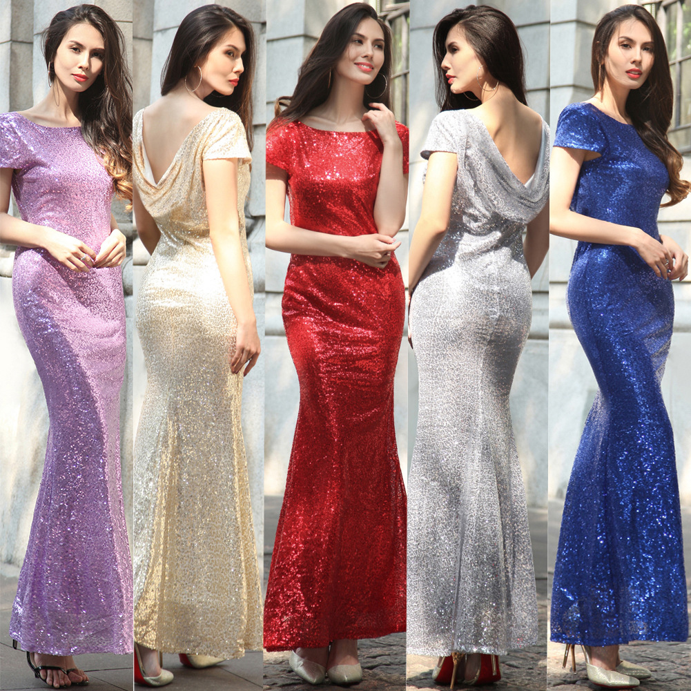 Buy Cheap sequin sexy long dress deep v neck Short sleeve dress women summer silver sequin red blue sparkling gold fishtail backless dress